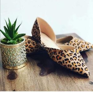 Shoes - Leopard flats loafer pointy casual flat shoes